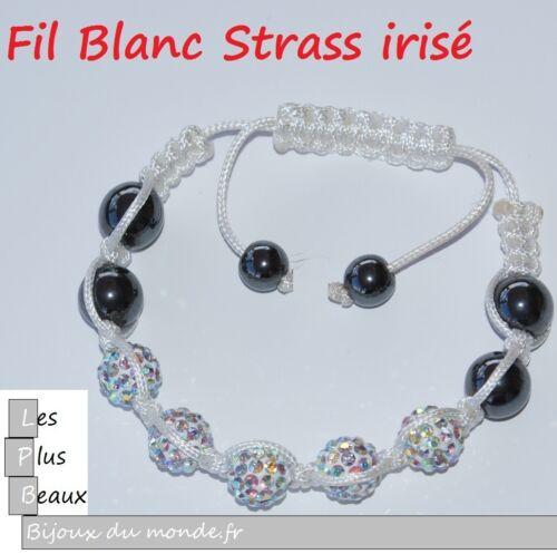 Bracelet STYLE SHAMBALLA  CERAMIQUE /&  Boules DISCO en cristal  NEUF Au CHOIX