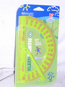 SEALED-LIME-GREEN-PINK-WESTCOTT-KLEEN-EARTH-PLASTIC-PROTRACTOR-RULER-MICROBAN