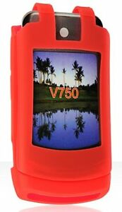 NEW-RED-SOFT-RUBBER-SILICONE-SKIN-CASE-COVER-FOR-MOTOROLA-ADVENTURE-V750-PHONE