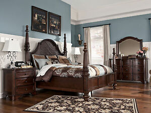 old world dark cherry brown queen king poster bedroom furniture set