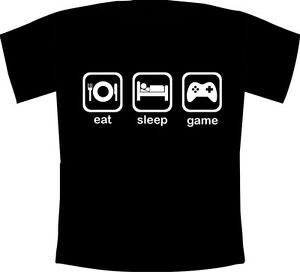 Kids Eat, Sleep, Game - Funny Gaming Fanatic T-Shirt XBOX One,PS4,Switch,3DS