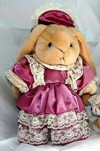 """12"""" Victorian Bunny Rabbit in Rose Satin Lace Dress & Hat w/ Stand EASTER"""