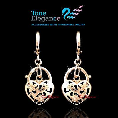 18k gold GF hoop huggies dangle heart padlock solid ladies earrings jewellery