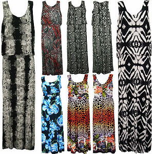 Womens-Ladies-Plus-Size-Sleeveless-Stretch-Long-Maxi-Dress-Skirt-14-16-18-24-26