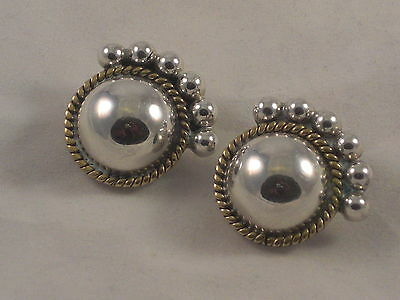 Laton Taxco Mexico Sterling Silver Round Domed with Brass Clip Earrings