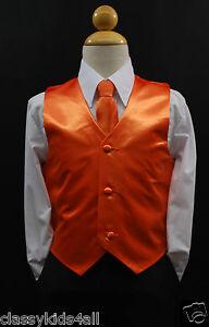 infant-Toddler-amp-Teen-ORANGE-VEST-LONG-NECK-TIE-for-Boys-Suit-Tuxedo-Sz-2T-14