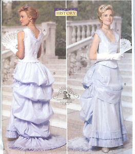 OOP-Late-Victorian-Dress-PATTERN-Butterick-5696-Bustle-Evening-Costume-Sz-8-20