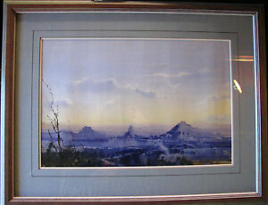 Herman-Pekel-original-Watercolor-titled-039-The-Glasshouse-Mountains-039-Australia