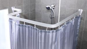 Barre d 39 angle rideau de douche baguette tige calage pour for Rideau de douche pour baignoire d angle