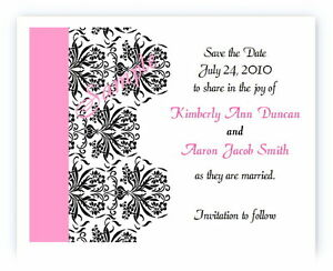 100 Personalized Cusom Damask Wedding Bridal Save The Date Cards