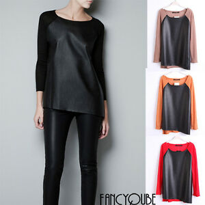 Women-PU-Asymmetrical-Crew-Neck-Long-Sleeve-Pullover-Sweaters-WF-3677