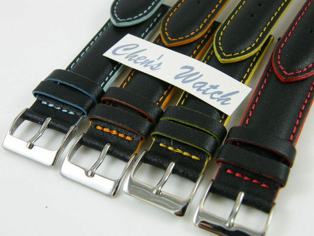 HQ 18MM 20MM 4 COLORS EDGE STITCH ITALY LEATHER WATCH BAND 18/16 20/18 MM STRAP