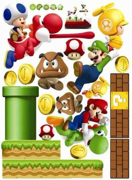 HOT NEW Super Mario Bros PVC Removable Wall Sticker Home Decor art For Kids Room
