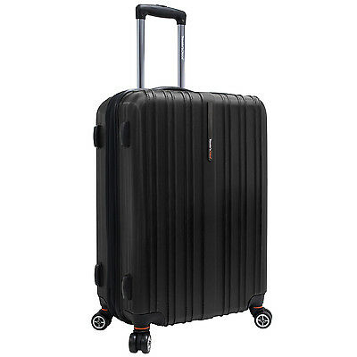 "Traveler's Choice Black 25"" Tasmania Polycarbonate Spinner Suitcase Luggage Bag"