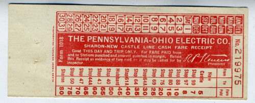 Early Railroad Ticket from the Pennsylvania Ohio Electric Co Railway Line