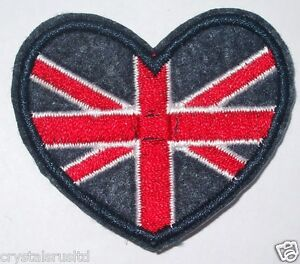 10-x-sm-HEART-Union-Jack-UK-flag-Embroidery-iron-on-HOTFIX-transfer-patch