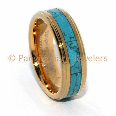 Tungsten Carbide Ring 18K Gold IP Turquoise Dyed Inlay 7MM Step Bevel Edge