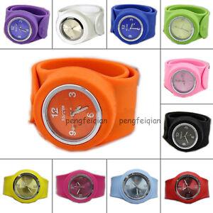 Silicone-Wristwatch-Unisex-Bracelet-Sports-All-Size-DIY-Colorful-Slap-Watch-Hot