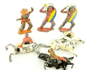 Vintage-Toy-Lead-Cowboy-amp-Indian-Figures-Lot-of-6-Barclay-Manoil
