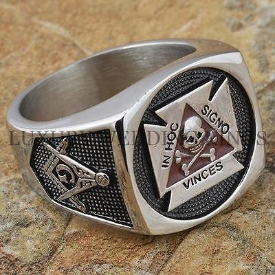 Mens Masonic Ring York Rite Master Freemason Skull & Bones Square G Size 9-13