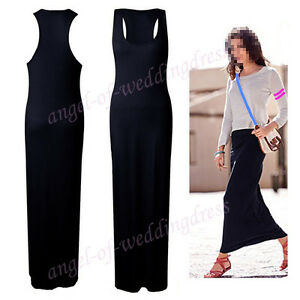 F-amp-P-Womens-Ladies-New-Tight-Sexy-Solid-Plain-Full-Long-Sleeveless-Maxi-Dress
