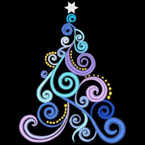 CHRISTMAS TREE MEDLEY - 22 MACHINE EMBROIDERY DESIGNS (AZEB)