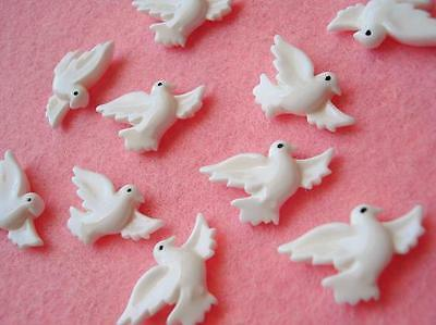 20 White Dove Bird Resin Button/pigeon/embellishment/wedding/christmas/peace B90