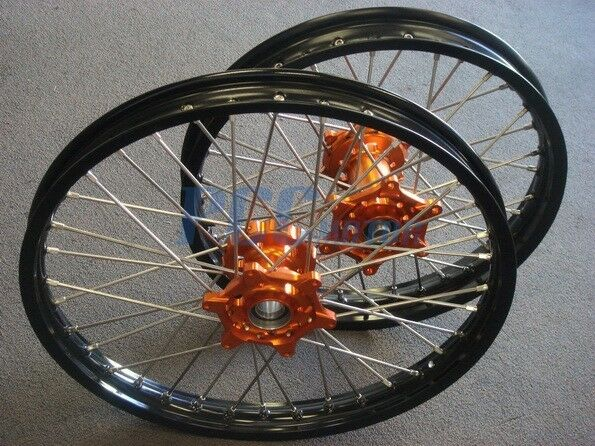 KTM 125 144 200 300 250 450 525 530 CNC HUB WHEELS SET ORANGE BIKE M RMT06