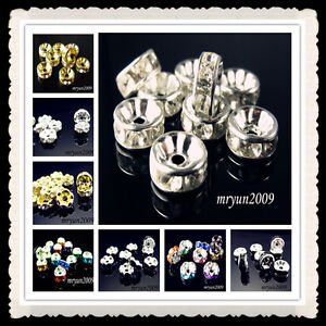 Free-DIY-Jewelry-Making-100PCS-Crystal-Rondelle-Spacer-Beads-6-8mm-Gold-Silver
