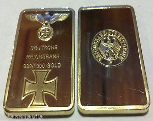 1-OZ-GERMAN-NAZI-999-PURE-24K-GOLD-LAYERED-3RD-REICH-IRON-WWI-WWII-BULLION-BAR