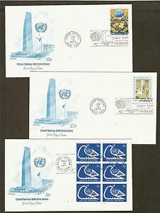 UN-NY-249-251-Definitives-of-1974-Set-of-3-Artmaster-FDCs
