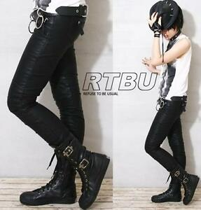 Punk-Biker-Faux-Lambskin-LEATHER-Vegan-Skinny-Pants-XL