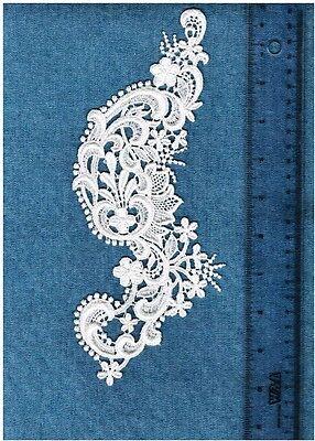3 Gorgeous Venise Lace Craft Applique Medallion Wh/ Ivory/ Black Trim  #5511