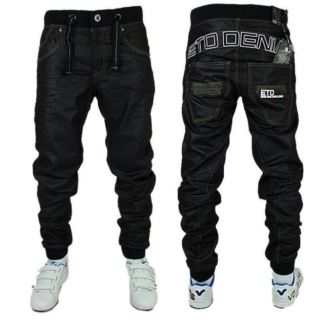 NEW MENS ETO EM125 BLACK-COATED TRENDY JOGGER JEANS **FREE P&P** *BARGAIN PRICE*