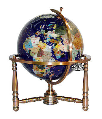 """Unique! 19"""" Tall Blue Lapis Ocean Table Top Gemstone World Globe Copper Stand"""