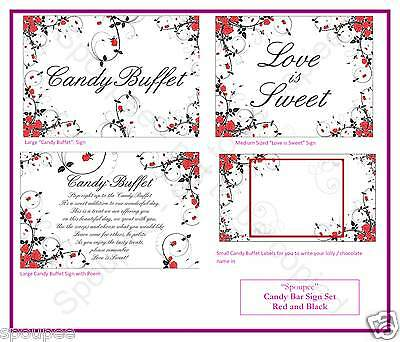 CANDY BAR BUFFET SIGN SET CARDS LABELS SWEETS TAGS wedding red black and white