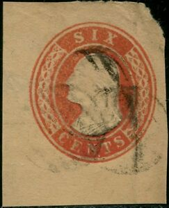 #U12 USED VF CUT SQUARE 6¢ RED, BUFF CV $90.00 BP8634