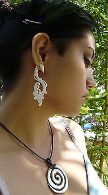 HAWAIIAN TROPICAL FLOWER Fake Gauge Earrings,Organic ,Bone,Tribal Style,Split