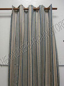 Ballard-Designs-Grommet-Linen-Lined-Drapes-Panels-Curtains-Blue-Stripe-54x108