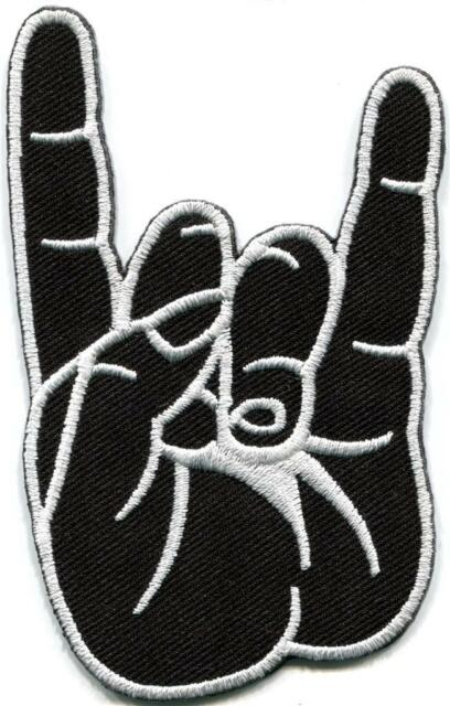 Rock and Roll salute metal thrash headbanger goth applique iron-on patch S-794