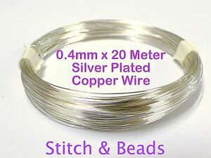 Silver-Plated-Jewellery-Beading-Wire-0-4mm-x20Meter-26-Gauge-Metal-Craft-Finding
