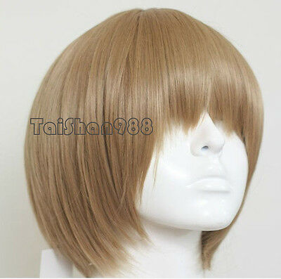 Hot Sell New Short Light Brown Straight Party Cosplay Women's Hair Wig Wigs +Cap