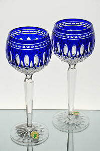 Waterford-Clarendon-Cobalt-Blue-Cut-to-Clear-Crystal-Wine-Goblet-Glass-Pair-NIB