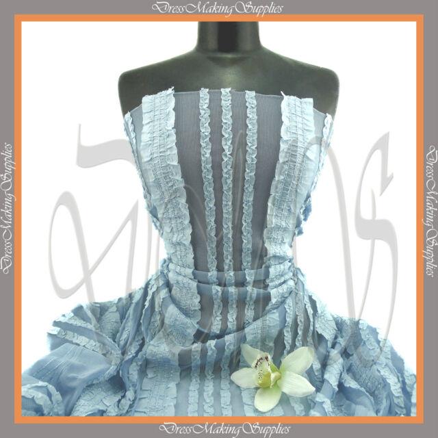 2 way stretch Mesh fabric Baby Blue with ruffles  Price per 1/2 yard