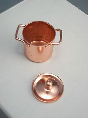 Copper Pot w/ Lid  kitchen dollhouse miniatures IM65521  1/12 scale metal