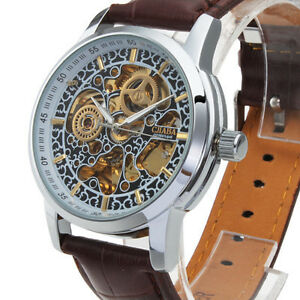 Unique-Men-039-s-Automatic-Mechanical-Leather-Wrist-Watch-Hollow-Engraving-Silver