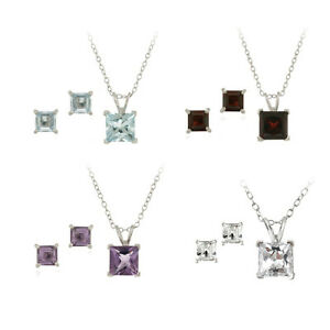 Silver-Square-Solitaire-Gemstone-Necklace-Earrings-Set-4-Colors