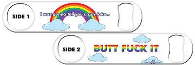 Bartender Bottle Opener: Gay Joke + Add Name or Text FREE! 24 Colors!