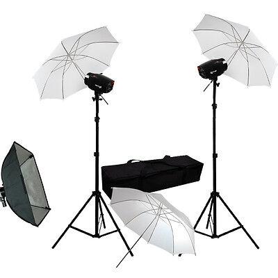 "3 x 33"" White Umbrella Softbox Strobe Flash Light Kit Photography Photo studio"