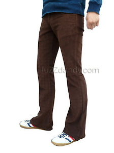 Mens-brown-bootcut-cords-vtg-jeans-retro-flares-mod-60s